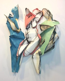 Folded Females I, II, III ~ acrylic and charcoal on paper - Uploaded by Cultural Affairs at SUNY Orange