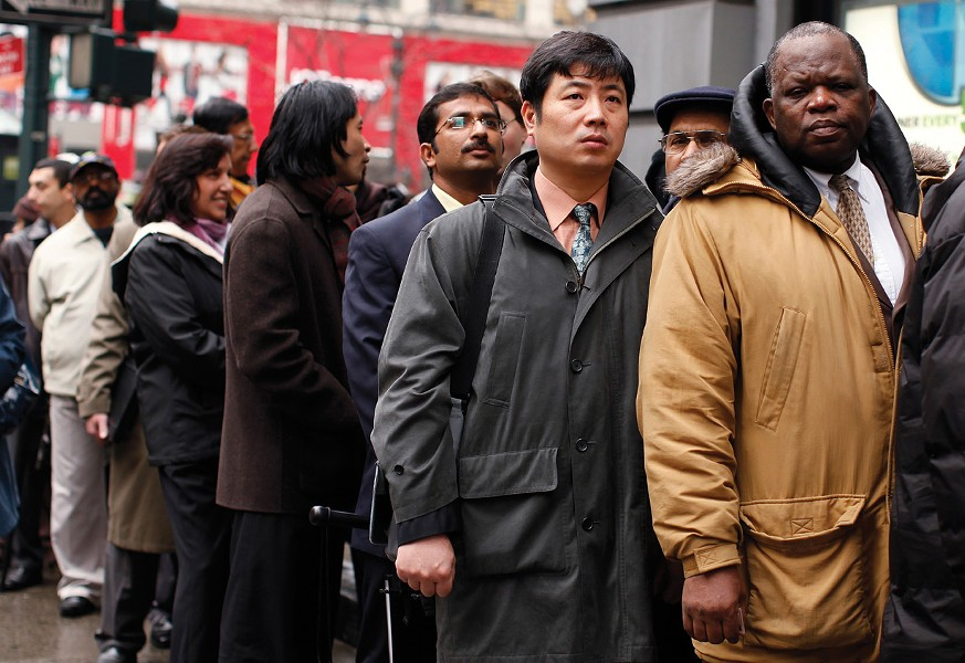 "Unemployed workers wait in line to enter the NYCHires Job Fair in New York, on December 9, 2009. unemployment insurance is part of what Tea Party activists like Rep. Paul Ryan of Wisconson have decried as the ""culture of dependency"" that current government policies perpetuate, threatening to ""smother the economy"" and corrode our ""national character."" - REUTERS / SHANNON STAPLETON"