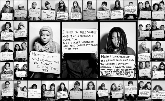 """Vanessa Bahmani, We Are the 99%, photographs of Occupy protesters, from """"Wall Street to Main Street"""" in Catskill."""
