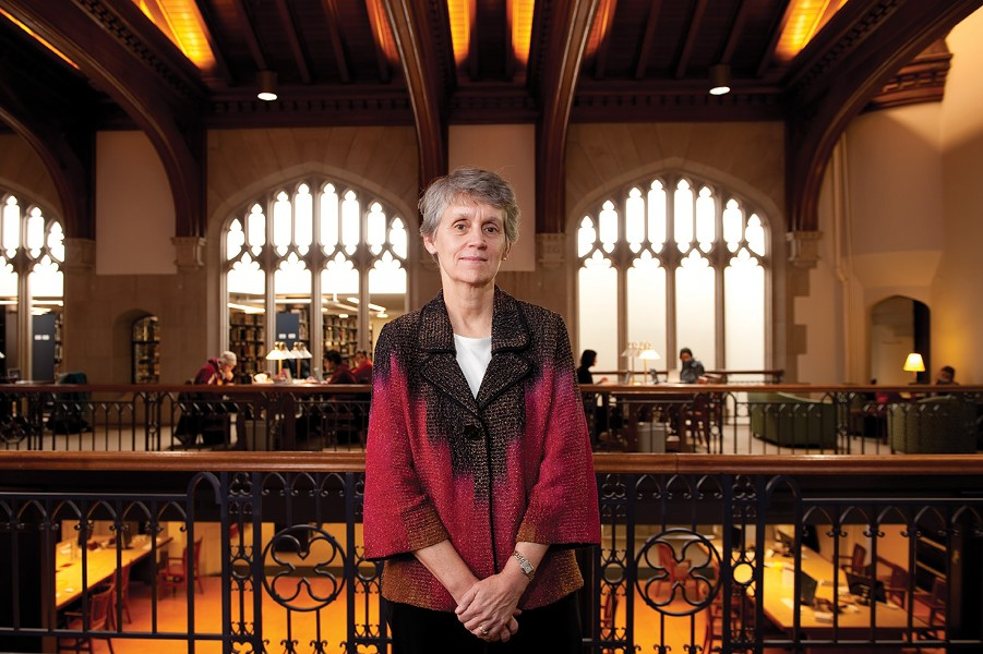 "Vassar College President Catherine ""Cappy"" Hill in the campus library."
