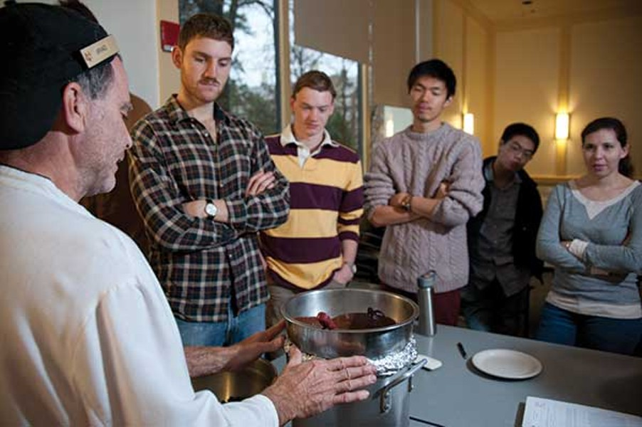Vassar pastry chef Brad Goulden demonstrates chocolate tempering to the Culture and Chemistry of Cuisine class. - ROY GUMPEL