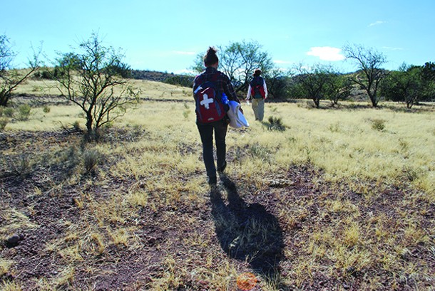 Volunteers from the Samaritans, a humanitarian group in Arizona, walk the migrant trails with water, food, and blankets.  In the past six years, there have been over 2,000 known migrant deaths in the state. - LEANNE TORY-MURPHY