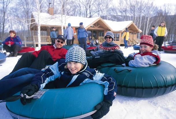 Winter tubing at Windham Mountain.