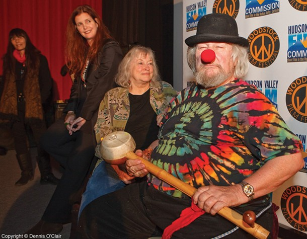 "Woodstock Film Festival Executive Director Meira Blaustein, filmmaker Michelle Esrick, Jahanara, and Wavy Gravy at the ""Saint Misbehavin'"" screening at Upstate Films in Woodstock on December 11."