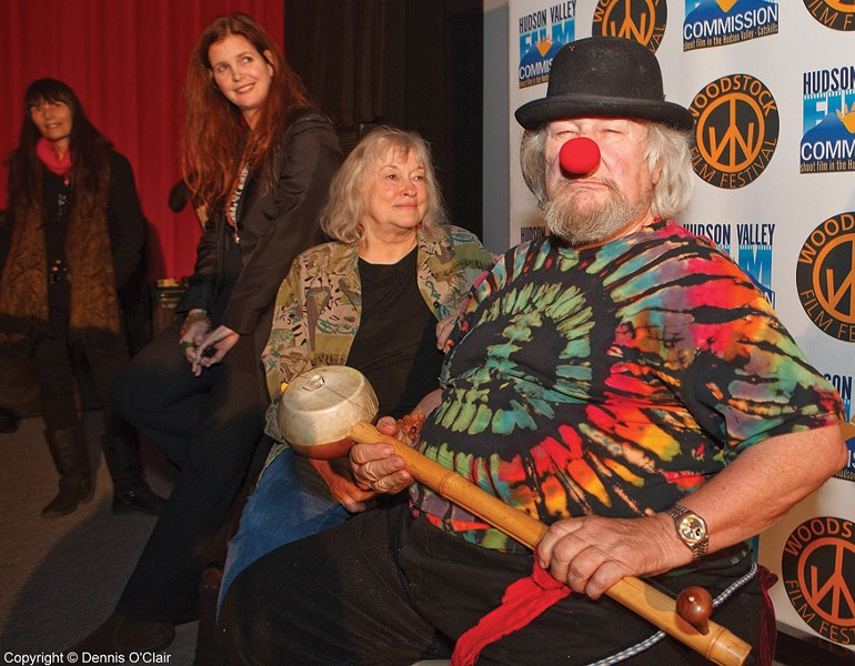 "Woodstock Film Festival Executive Director Meira Blaustein, filmmaker Michelle Esrick, Jahanara, and Wavy Gravy at the ""Saint Misbehavin'"" screening at Upstate Films in Woodstock on December 11."