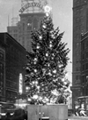 1934: A Christmas Tree on Playhouse Square. Behind the tree is the Keith Building, Bulkley Building and the Marquee for the Allen Theatre.