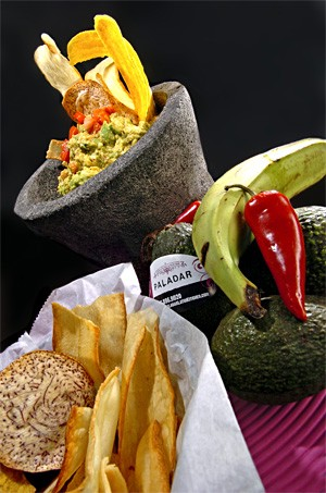 A combo of plantain, yucca, and malanga jazzes up Paladar's one-note guacamole. - WALTER NOVAK