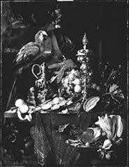 """A Richly Laid Table With Parrots,"" by Jan Davidsz de Heem, oil on canvas."