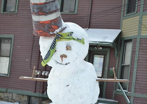 A snowman on Abbey Ave.