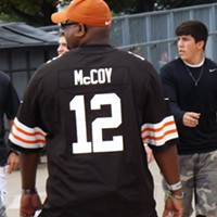 The Recent History Of The Cleveland Browns Told In 15 Now-Obsolete Jerseys After a phenomenal college career at Texas, the Browns drafted the under-sized Colt McCoy (2010-2012) in the third round of the draft, but wasn't expected to play right away. But injuries to Jake Delhomme and Senaca Wallace (yikes) forced McCoy into action his rookie season, with Hoyer-esque results. But when the Browns drafted Brandon Weeden in 2012 it signaled the end of his career in Cleveland and he was traded to San Francisco last April (along with Cleveland's 6th round draft pick) for their 7th and 5th round picks. Doug Brown/Cleveland Scene