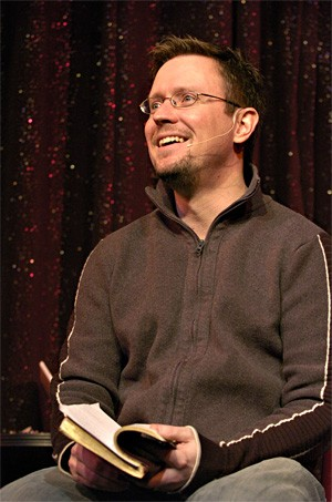 Alex Ennes rattles off biblical punch lines every Sunday at Hilarities comedy club. - WALTER NOVAK