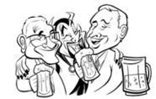 THOM  ZAHLER - Alex (left) and Jimmy (right) share a laugh with an unidentified friend during better times.