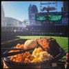 All you can eat meatloaf and #tribe #baseball! Yes please and thank you. #livin #life in #cleveland #tribetime