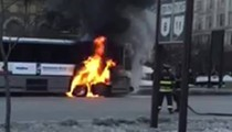 An RTA Bus Caught on Fire in Downtown Cleveland this Morning