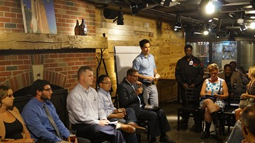 Andrew Samtoy of the Civic Commons moderates the discussion at Market Garden Brewery. - SAM ALLARD / SCENE