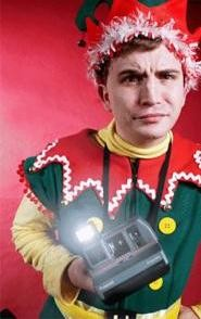 Andrew Tarr is Crumpet the elf in Cleveland Public - Theatres Santaland Diaries.