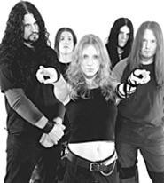 Arch Enemy's Angela Gossow (center) is the - toughest-looking dude in the group.