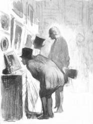 """Art Lovers,"" drawing by Honor Daumier."
