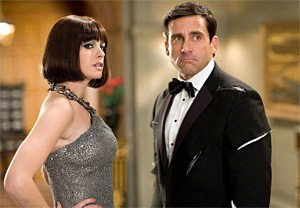Better than a Bond Girl: Anne Hathaway gets smart with Steve Carell.