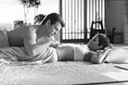 "Bond shows Jinx his ""navel maneuver."""