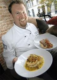 Chef Pete Schellenbach shows off his salmon and veal porterhouse. - WALTER  NOVAK