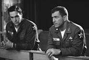 Chris Klein plays Lieutenant Jack Geoghegan; Mel Gibson is his commander, - Hal Moore.