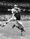 "Cleveland Browns vs. Pittsburgh Steelers- 1953  <p>""Dante Lavelli goes up and over Steelers defender Art DeCarlo to pull in a 40-yard pass from Otto Graham. Browns beat the Steelers twice in 1953, 34-16 and 20-16."""