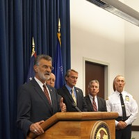"Pictures From The ""Operation Fox Hound"" Press Conference Cleveland mayor Frank Jackson Doug Brown/Cleveland Scene"