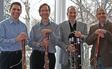 Cleveland Orchestra bassoonists Barrick Stees and Jonathan Sherwin are flanked by Oberlin College and University of Kansas bassoonists George Sakakeeny and Eric Stomberg