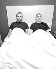 """Dammit, the hotel said there were two beds"": - David Bazan and T.W. Walsh of Pedro the Lion."
