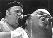 David Thomas, blowing into his Budweiser at the - Beachland on June 5. - WALTER  NOVAK