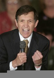"Declaring himself the only ""true woman in the race,"" Kucinich delivers an impassioned speech about how he's embarrassed by his thighs. - ASSOCIATED  PRESS"
