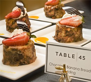 Dessert-lovers delight: Tasty tidbits like Chocolate Banana Bread adorn meal's end. - FRANK MILLER