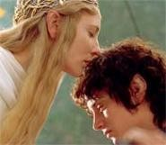 Elves in love: Cate Blanchett, as Galadriel, speaks in tongues to Elijah Wood's hobbit, Frodo Baggins. - PIERRE  VINET