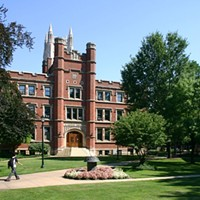 1. Case Western Reserve University- Cleveland Enrollment: ~9,800Institution Type: Comprehensive research university with engineering strengths.Features: Strengths in liberal arts, member of the Association of American Universities for research, highly ranked Business, Medicine, Engineering, Nursing, and Biomedical programs. Photo Courtesy of Wikimedia Commons