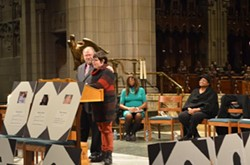 Skyler Edge speaks at Trinity Cathedral. - ERIC SANDY / SCENE