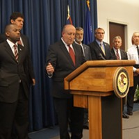 "Pictures From The ""Operation Fox Hound"" Press Conference FBI special agent Stephen Anthony speaks. In the back are Euclid police chief Tom Brickman, US Marshals chief Roberto Robinson, Dettelbach, Jackson, Cervenik, McGinty, McGrath, Siegle Doug Brown/Cleveland Scene"