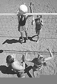 Fierce volleyball action at Sundays tournament.