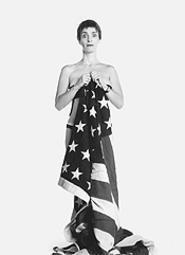 Flag-barer Holly Hughes.