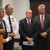 """Pictures From The """"Operation Fox Hound"""" Press Conference (from left to right): Euclid mayor Bill Cervenik, county prosecutor Tim McGinty, Cleveland police chief Mike McGrath, FBI special agent Stephen Anthony, Ohio High Intensity Drug Trafficking Area director Derek Siegle Doug Brown/Cleveland Scene"""