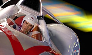 Go, Emile, Go!: Hirsch mans the Mach 5 in a wildly colorful Speed Racer.