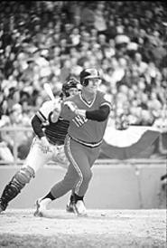 Heavy-hitter Boog Powell swings into action, circa - 1975.