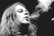 H.I.M. frontman Ville Hermani Vallo, blowing smoke at - the Odeon, April 22. - WALTER  NOVAK