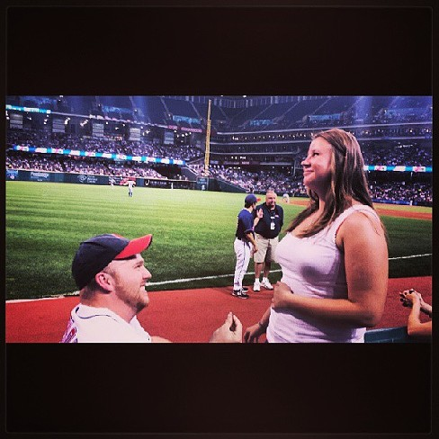 I cant even believe it. #engaged #Indiansgame #isaidyes #poppedthequestion #lovehim #hewassoooonervous #socute @mustache_mike - PHOTO COURTESY OF INSTAGRAM USER _HSUCHY