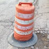 Instead of filling in the pothole the city of Cleveland decided to put a construction barrel over it. #clevelandproblems