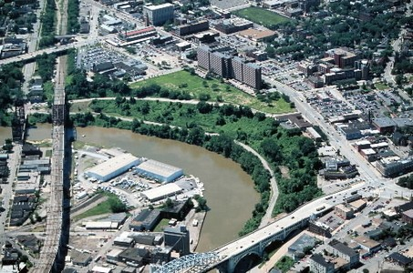 THIS IS ONE OF THE NARROWEST STRETCHES OF THE CUYAHOGA.
