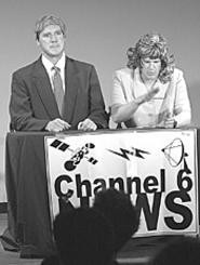 It's all fun and games till the weatherman kills himself: - Mike Polk (left) and Jef Etters.