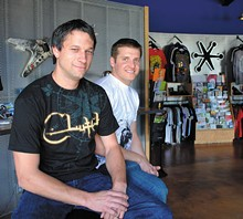 Jacob Edwards (left) - and Dameon Guess at the offices of Jakprints.
