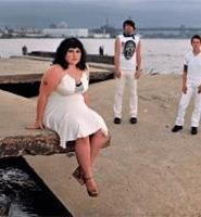 Jagged concrete is nothing new for Gossip's Beth Ditto (left).