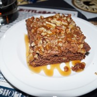 Here's What You Missed at Last Night's Kentucky Beer Dinner at Reddstone Kentucky Bourbon Barrel Stout brownies topped with caramelized pecans